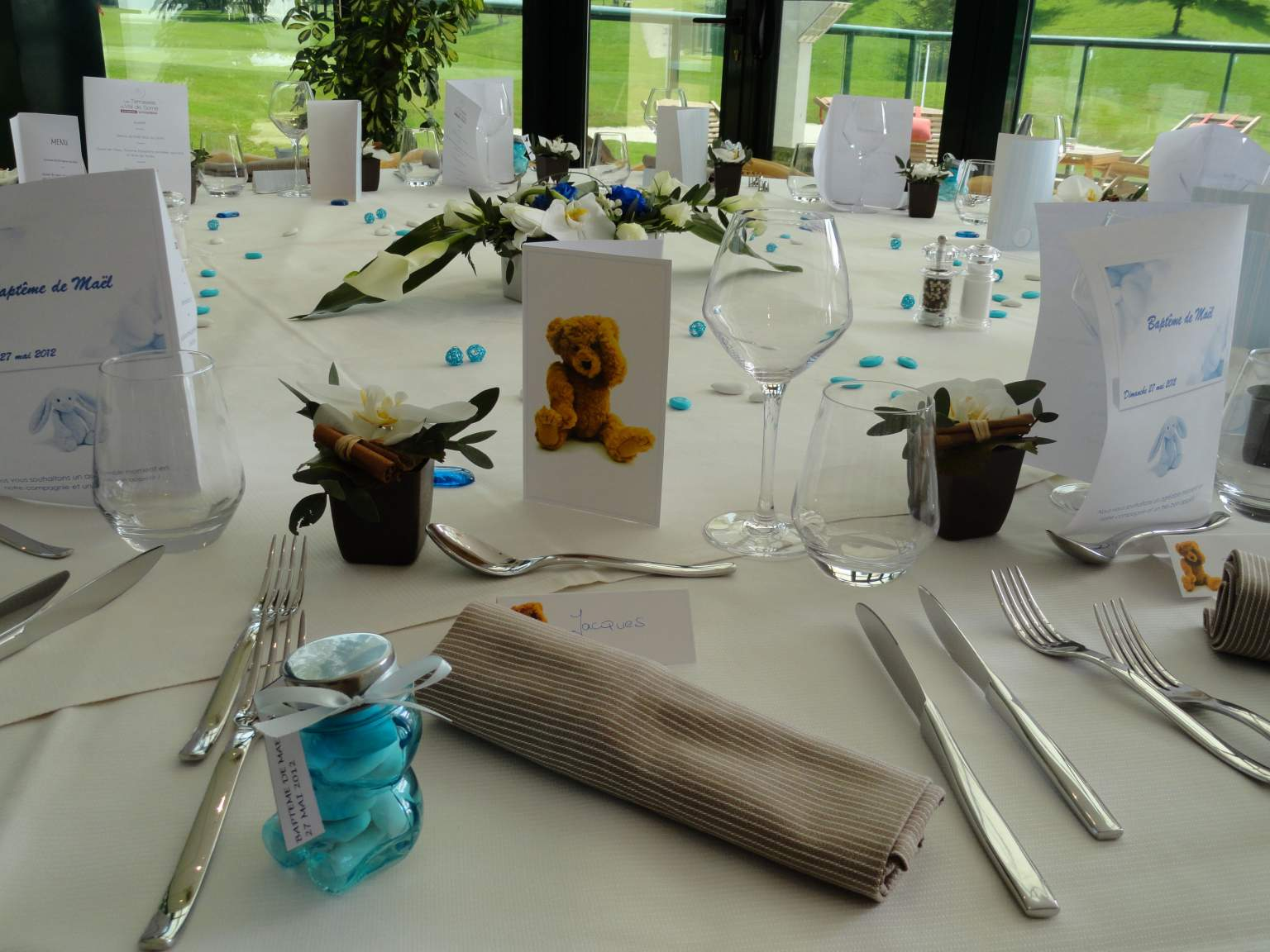 Table decorated for a christening